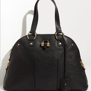 NWT YSL Large Muse black leather dome satchel